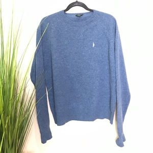 J. Crew sweater in blue, 100% lambs wool